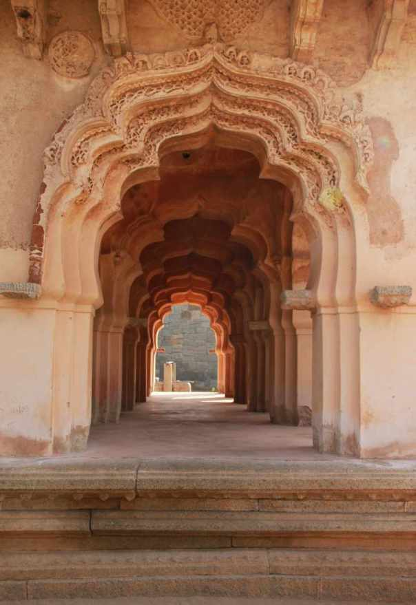 carved corridors of lotus mahal