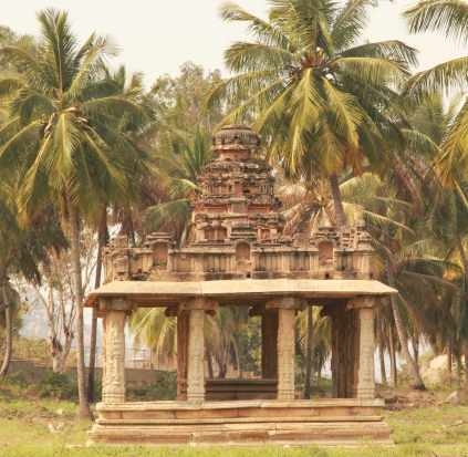 Temple and coconut trees