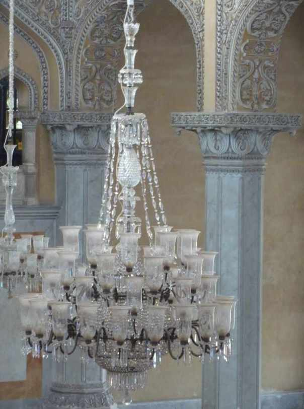Chandelier at Chowmahalla Palace closeup