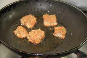Chicken nuggets in the pan