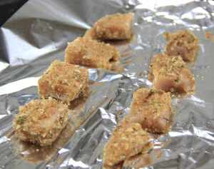 Chicken nuggets ready to fry