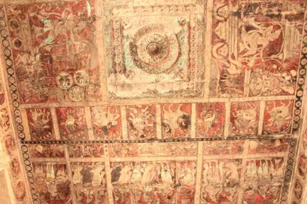 Painted ceiling of Virupaksha temple hall