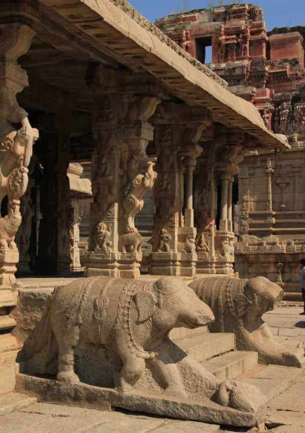 Pillars and elephants in krishna temple