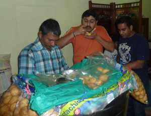 Sudeep and Abhishek enjoying Pani Puri