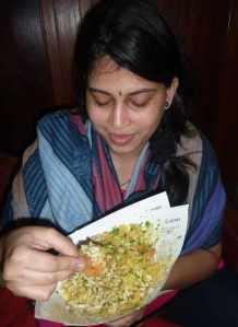 Varda enjoying Bhel Puri