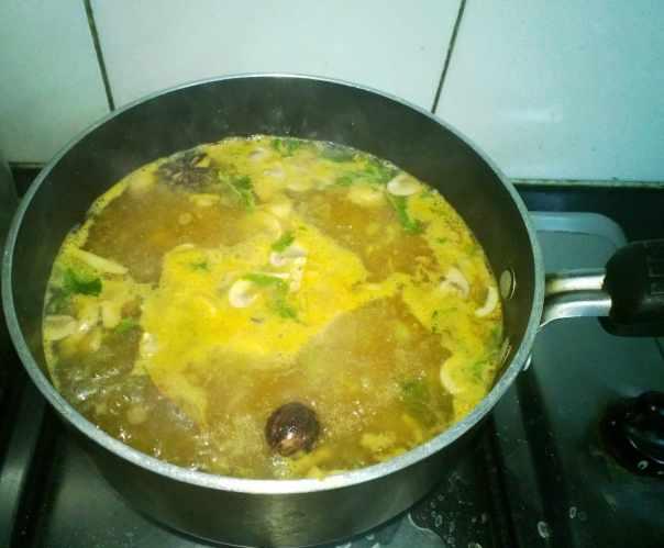 Broth simmering