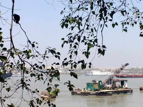 Hoogly river, boats, birds and Howrah