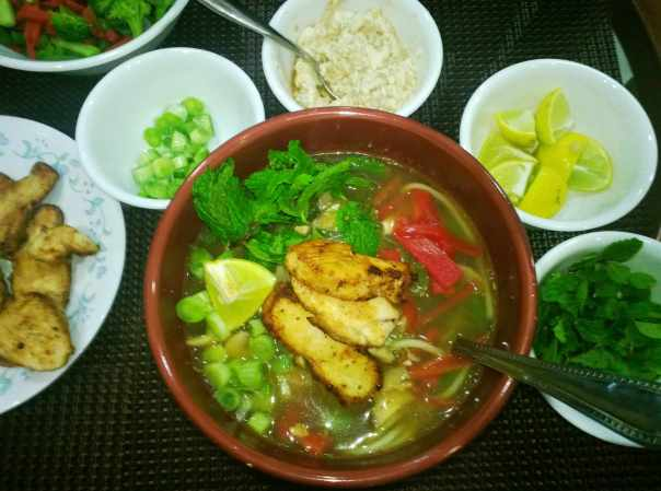 Steaming bowl of Pho
