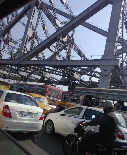 Traffic jam on Howrah bridge