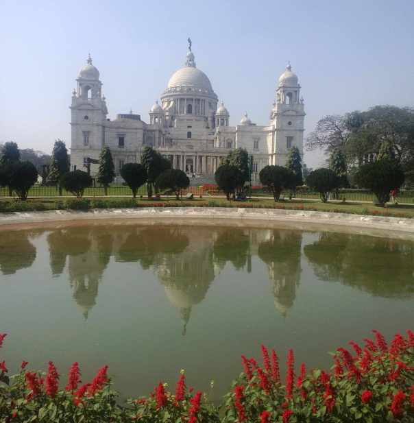 Victoria memorial in reflection pool