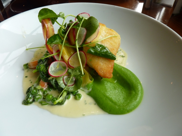 Spring on a plate - Halibut with radishes and pea shoots